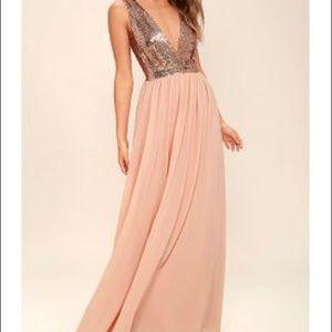 LULU'S | rose gold sequin formal bridesmaid dress